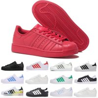 Wholesale red fashion shoes for men for sale - Group buy 2019 Originals superstars casual shoes for men women black white gold green red super star fashion mens flat sneakers size