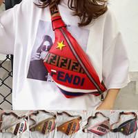 moda cintura sacos mulheres venda por atacado-F Letra Mulheres Fanny Pack PU Saco Da Cintura Moda INS Chest Belt Sacos de Bolso Bolsa Projeto F Impresso Estrela Crossbody Satchel Bumbag 6 Cores A4804