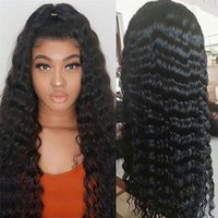 Wholesale small cap human hair wig resale online - virgin curly human hair wigs for black women deep wave full lace human hair wigs density average large small cap