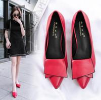 topuklar için iş ayakkabısı toptan satış-2019 Sıcak Satış Bayanlar Sivri Burun Ayakkabı Avrupa ve Amerika Moda Vahşi Düşük topuklu Kadın Ayakkabı Basit Iş ve Eğlence Tek ayakkabı