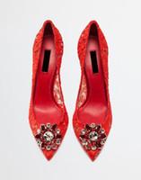 zapatos de fiesta mujer diamantes al por mayor-NUEVOS Zapatos de vestir con punta estrecha y punta de diamante con flores de tacón alto para mujer Zapatos sin cordones de piel genuina con caja