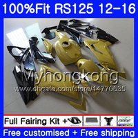 aprilia rs 125 gold großhandel-Gold schwarze heiße Einspritzung für Aprilia RS-125 RS125RR RS4 RS125 12 13 14 15 16 315HM.22 RSV125 RS 125 2012 2013 2015 2015 Soem-Verkleidungssatz