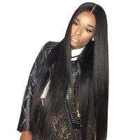 heiße schönheit menschliches haar großhandel-Hot Beauty Hair brasilianische Remy seidige gerade 4 * 4 Zoll Lace Front Echthaar Perücken mit Baby 180% Dichte Pre Plukedr Perücke