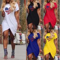 Wholesale plus size solid color dresses resale online - 2019 Women Summer LOVE Casual Dress Cross Designer Short Sleeved Candy Color Dresses Plus Size XL