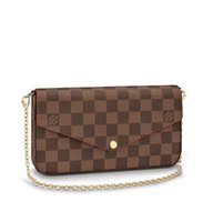 Wholesale microfiber nylon wallets resale online - N63032 Pochette Félicie WOMEN REAL LEATHER LONG WALLET CHAIN WALLETS COMPACT PURSE CLUTCHES EVENING KEY CARD HOLDERS