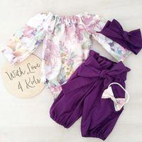 bons hauts pour les filles achat en gros de-Bonne qualité nouveau-né vêtements de bébé ensemble 3pcs filles floral barboteuse jumpsuit tops pantalon bandeau tenues ensemble roupas menina