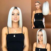 senhoras perucas curtas venda por atacado-Halloween Wig Chapelaria Lady Wig Bobo cabelo curto preto graduais Chang Branca Liso Curto 38 cm de comprimento