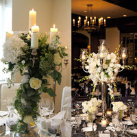 Wholesale cheap wedding candle centerpieces for sale - Cheap sale hangging Crystal Flower Bowl candlestick candle holder flower vase stand Candelabra Centerpieces Wedding Table Decorations