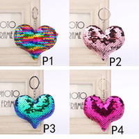 Wholesale movie star baby resale online - 4 styles star Heart Keychain Glitter Mermaid Sequins Key Ring Gifts for baby Charms Car Bag Key Chain Party Favor C3