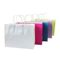 ingrosso negozio laser-10 pz / lotto multifuntion sacchetti di carta kraft con maniglia di colore della caramella recyle shopping pacchetto borse regalo sacchetto 32 * 25 * 11 cm T190711