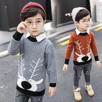 koreanischer junge mode pullover großhandel-Neue Herbst und Winter Jungen Mode Pullover Kinder Korean Baumwolle Strickpullover Tops Kinder Cartoon Elch Revers Shirt