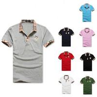 havalandırmalı gömlek toptan satış-Yaz Erkekler Yaka T Gömlek Polo Marka Kısa Kollu Açık Eğlence Cotta Nakış Kafes Yaka Yumuşak Beyaz Kırmızı Havalandırmak 22oj C1