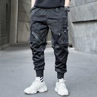 jogger schweißhose großhandel-Männer Bänder Farbblock Camouflage Pocket Cargo Pants 2019 Harem Joggers Harajuku Sweatpant Hip Hop Hose