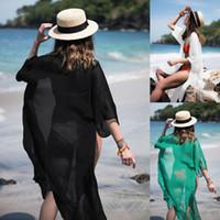 ingrosso camicia da spiaggia-Abito da spiaggia donna in chiffon Costumi da bagno donna Costumi da bagno Bikini Beach Wear Cover Up Camicetta Camicia Summer Dress SSA72