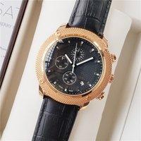 relogios de relógios de cronômetro venda por atacado-Chegada nova homens relógios de ouro suíço cronógrafo esporte couro relógio de pulso vestido de quartzo cronômetro frete grátis