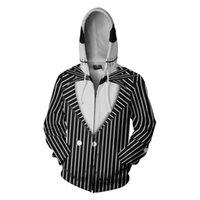 trajes de jack al por mayor-Pesadilla antes de Navidad Jack Skellington Cosplay sudaderas con capucha Skull Jack Skellington y Sally Disfraz Sudadera