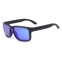 blaue männer sonnenbrillen rahmen großhandel-Luxus Mode O Serie Sonnenbrille für Männer Crossrange Rauch Rahmen Blau Logo Polarisierte Blaue Linse PO9244 Marke Gläser Freies Verschiffen