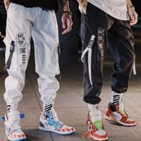 ingrosso pantaloni neri alla caviglia-Mens Pants Hip Hop Streetwear Uomini Harem Cargo Pants Jogger Pantaloni sportivi Solid pantaloni di lunghezza Colore Nero Bianco caviglia