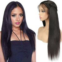 Wholesale long hair black silky women resale online - Lace Frontal Wigs Pre Plucked With Baby Hair Straight Peruvian Remy Human Hair Lace Front Wigs For Black Women Inch