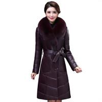 женские куртки из натуральной кожи оптовых- clothes Women real leather jacket ladies genuine leather down jacket NEW Sheep skin  fur collar K4211