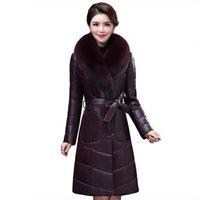 chaquetas de piel al por mayor-Ropa de lujo Mujer chaqueta de cuero real para damas chaqueta de cuero genuino NUEVA piel de oveja Collar de piel de zorro K4211
