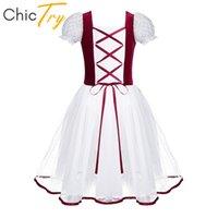 meninas vestido de bailado laço venda por atacado-ChicTry Crianças Lace Mangas Bolha Palco Trajes de Dança Lírica Meninas Ballet Tutu Dança Vestido Crianças Ginástica Ballet Collant