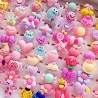 Wholesale asian mix baby for sale - New Children s Cartoon Rings Jewelry Heart Shape Animals Flower Baby Girl ring band Gift