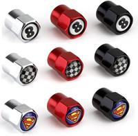 mitsubishi amblemleri amblemleri toptan satış-Üç renk Mini Metal Lastik Vana Vana Lastik Toz Kapağı Kapaklar S Araba Rozeti Amblem Rozetleri Siyah 8 F1 Bayrak Superman