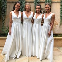 Wholesale ivory silver bridesmaid dresses resale online - Empire Pleated Bridesmaid Dresses Country Style V Neck A Line Floor Length Satin Custom Made Cheap Prom Dress Formal Party Wear