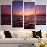 Wholesale oil paintings sea view for sale - Group buy Decoration Posters Framework HD Printed Panel Sunrise Sea View Modern Painting On Canvas Home Living Room Wall Art Pictures