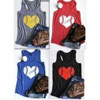 Wholesale couple shirts fashion clothing resale online - Couple Baseball Softball Sleeveless T Shirt Vests Round Neck Love Print Sports Vest Fashion Men And Women Summer Home Clothing ar E1