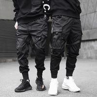 siyah hip hop kargo pantolon toptan satış-Erkekler Kurdela Renk Blok Siyah Cep Kargo Pantolon 2019 Harem Joggers Harajuku Sweatpant Hip Hop Pantolon