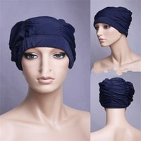 Wholesale hair material for sale - Group buy Pleated Fold Bathing Cap Designed For Long Hair Ladies Swim Cap Many Colors Polyester Material Women Black yfC1