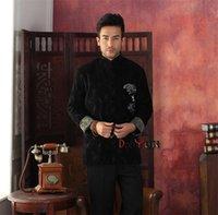chaqueta de kung fu xxl al por mayor-Chaqueta de Kung-Fu de terciopelo mandarín de hombre de estilo chino de invierno de envío gratis Chaqueta Wadded Warm M L XL XXL 3XL 4XL DY08