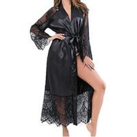babydoll de satén de las mujeres al por mayor-Nuevas mujeres de encaje largo túnica de satén ropa de dormir vestido de noche Babydoll camisón túnica de seda túnicas de satén boda nupcial vestido de dama de honor Kimono