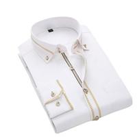 ingrosso camicette di nozze-Camicia da uomo casual slim da uomo casual a manica lunga da lavoro elegante con maniche lunghe da uomo