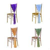 ingrosso fasce oro satinato oro sedia-Soft Satin Sash per Wedding Chair Cover Sash Coprisedile Band con fibbia Chiavari Sedie Decorazione