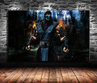Wholesale framed wall art paintings for sale - 1 Pieces Canvas Prints Wall Art Oil Painting Home Decor Mortal Kombat Sub Zero Unframed Framed x36