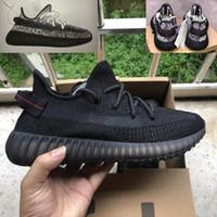 en kaliteli koşu ayakkabıları toptan satış-2019 En Kaliteli Kanye West Siyah Statik Yansıtıcı Koşu Ayakkabıları Beyaz Statik 3 M Shoeslace Yansıtıcı Erkek Kadın Sneakers Bize 5-12.5