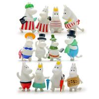 ingrosso paesaggistica familiare-12pc Ippopotamo Famiglia Moomin Miniature Fairy Garden Casa Case Decorazione Mini Craft Micro Landscaping Decor Accessori Fai da te