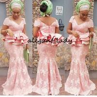 ingrosso abiti da cerimonia in stile peplum-Glamorous Aso Ebi Styles Mermaid Evening Party Gowns con Peplo 2019 Blush Pink Lace manica lunga Nigerian Prom Abiti convenzionali
