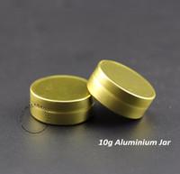 altın tenekeler toptan satış-Altın Cap Makyaj Ambalaj ile 50pcs / lot 10g Gram Alüminyum Kavanozları Boş Kozmetik Teneke Vaka Doldurulabilir Metal Krem Konteyner