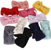 ingrosso facile crocheting-Pure Colours Orecchie di Coniglio all'uncinetto Cinturino leggero in maglia di lana Fascia per capelli Facile da trasportare Hair Hoop Fashion 3 5xm BB