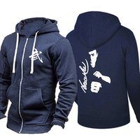xxl kung fu jacket achat en gros de-Kung Fu Action Star Bruce Lee Imprimer Hip Hop Pardessus Sweat pour Hommes Femmes Unisexe Hoodies Zipper Sport Veste Manteau Planche À Roulettes Skateboard Streetwear