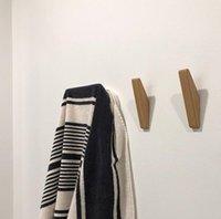 soportes para perchas al por mayor-Ropa de madera natural de suspensión de la pared Montado Gancho decorativo sostenedor dominante sombrero de la bufanda del almacenaje del bolso Hanger ganchos baño rack