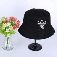 Wholesale wide brim black hat women resale online - Fashion Print ADI Summer hat women men Panama bucket cap Print ADI of the design flat visor fisherman hat wide brimmed hat