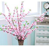 fleurs de cerisier achat en gros de-Artificielle Cerise Printemps Prune Fleur De Pêcher Direction générale De La Soie Fleur Arbre Pour La Décoration De Noce blanc blanc rouge jaune couleur EEA447