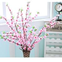 decorações de pêssego venda por atacado-Primavera cereja artificial ameixa flor de pêssego ramo de flor de seda árvore para decoração de festa de casamento branco vermelho amarelo cor eea447