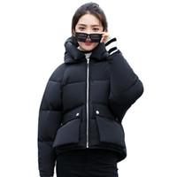 koreanische weibliche jacke stil großhandel-Mode 2018 Korean Style Winterjacke Frauen Blase Mit Kapuze Kurze Outwear Weiblichen Mantel Studenten Chaqueta Mujer