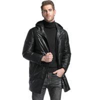 Wholesale skin jacket brown online - mens down jacket hooded outerwear coats genuine leather sheep skin custom made black leather coats
